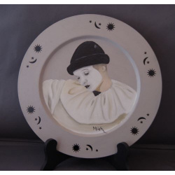 Pierrot oil painting on tin