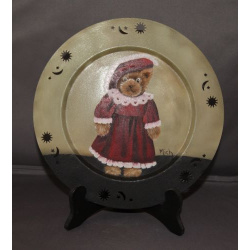 Teddy bear oil painting on tin
