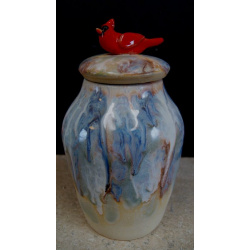 Blue vase with cardinal lid