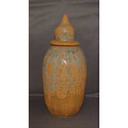 Tall blue-brown vase